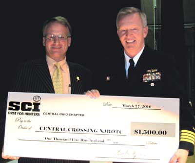 Check for $1500 given by Central Ohio SCI to Central Crossing NJROTC Shooting Team.